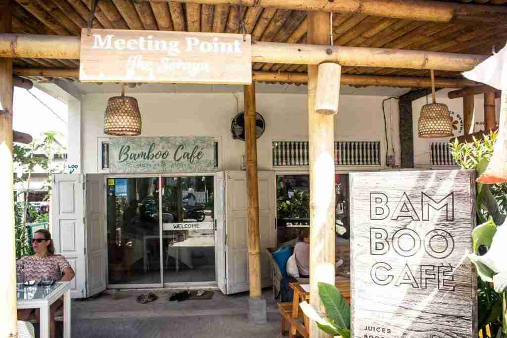 The entrance to Bambo Cafe, located on the main street of Labuan Bajo. They offer good wifi and healthy food.