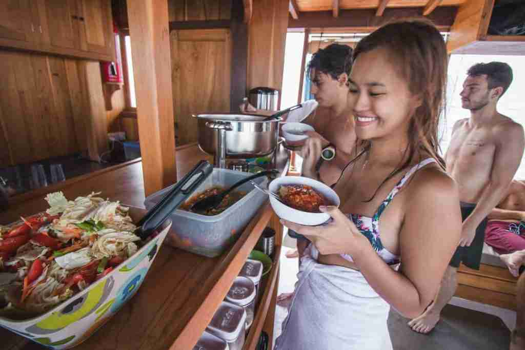 he kitchen area and the homemade food on Yolande, the most comfortable dive boat in Labuan Bajo.