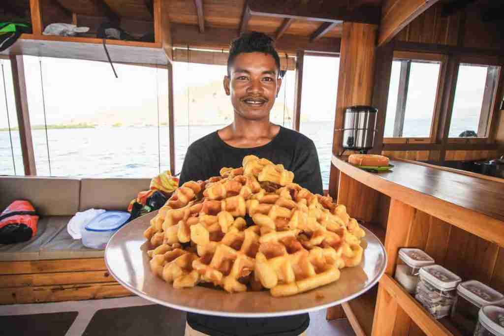The kitchen area and the homemade food on Yolande, the most comfortable dive boat in Labuan Bajo. And our famous homemade Belgian waffles.